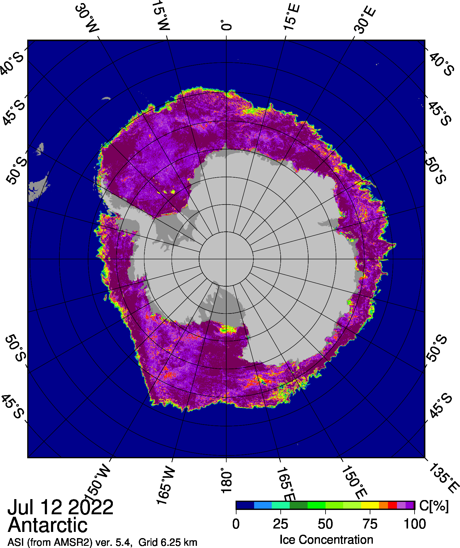 AMSR2 Antarctic sea ice concentration from the University of Bremen