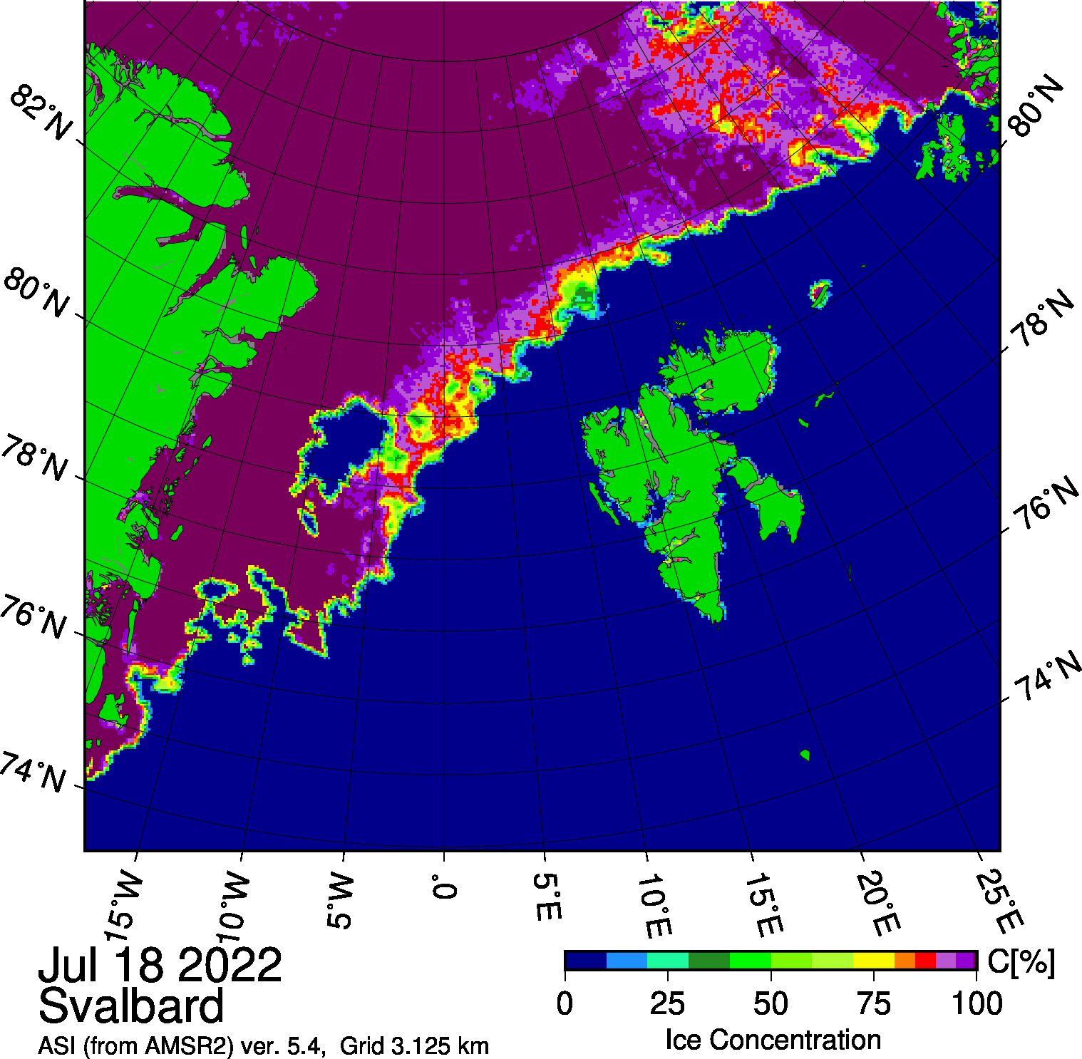 AMSR2 Svalbard sea ice concentration from the University of Bremen