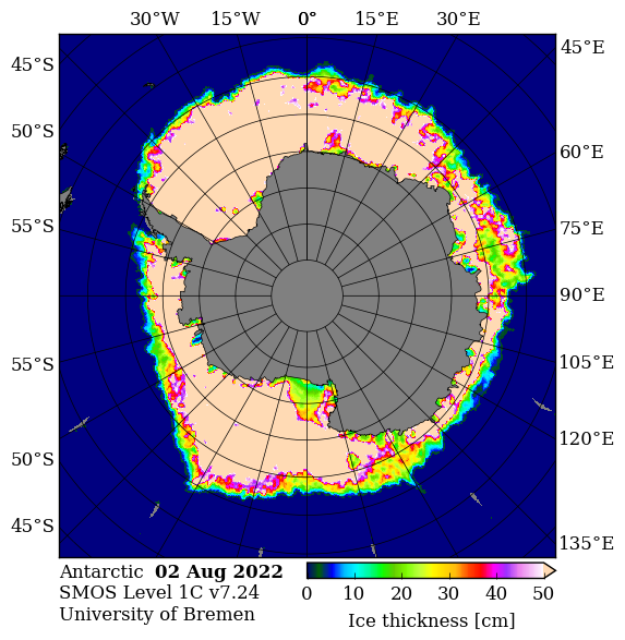 Antarctic thickness of thin sea ice